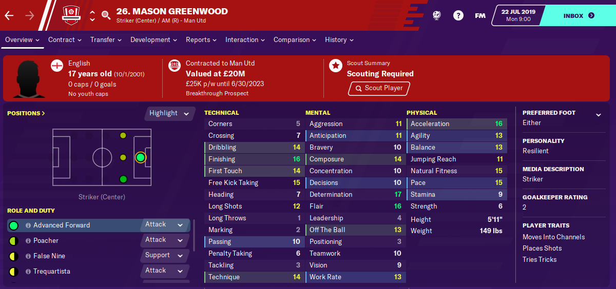 Mason Greenwood: Starting Attributes in FM2020
