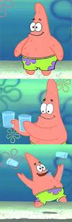 Polosan meme spongebob dan patrick 82 - patrik membuang gelas