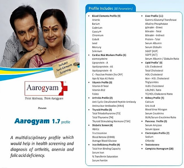 Thyrocare Aarogyam 1.7 Special Offer - With Blood Ketone(D3HB) + Cardiac Risk Marker + Arthritis Profile + Pro 1.3 @ Rs. 1800 / 88 Tests