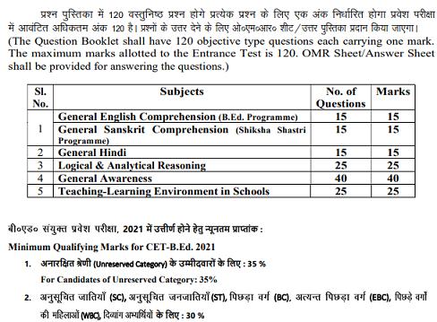 Bihar BEd CET Exam Pattern
