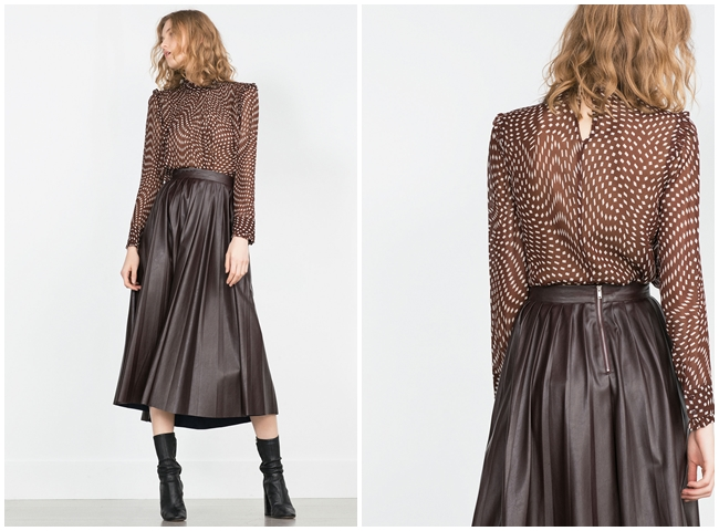 Zara 2015 Fall Dark Red Leather Pleated Skirt