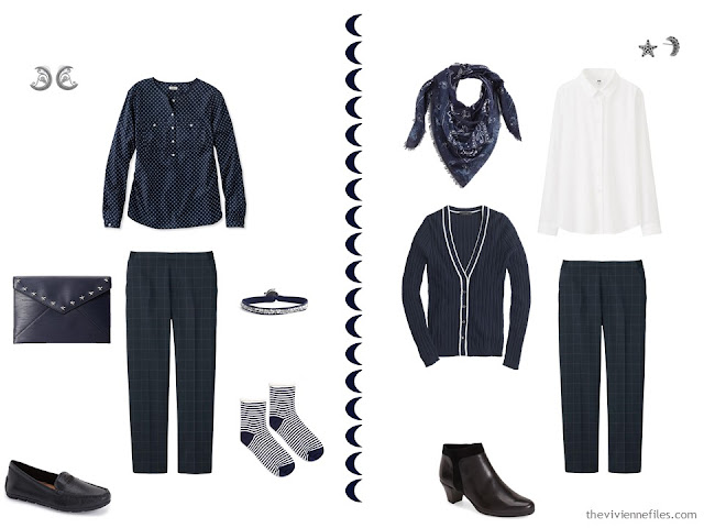 Two outfits in a Travel capsule wardrobe in a navy, white, and grey color palette