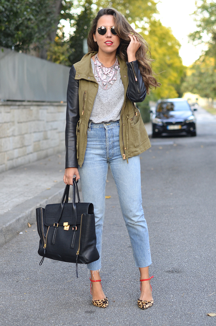 Streetstyle - Zara cameo jacket, statement necklace, ray ban round sunglasses, zara high waist jeans, leopard heels, grey basic tee