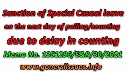 Sanction of Special Casual leave on the next day of polling/counting to polling personnel who stay back for late due to delay in counting— Instructions