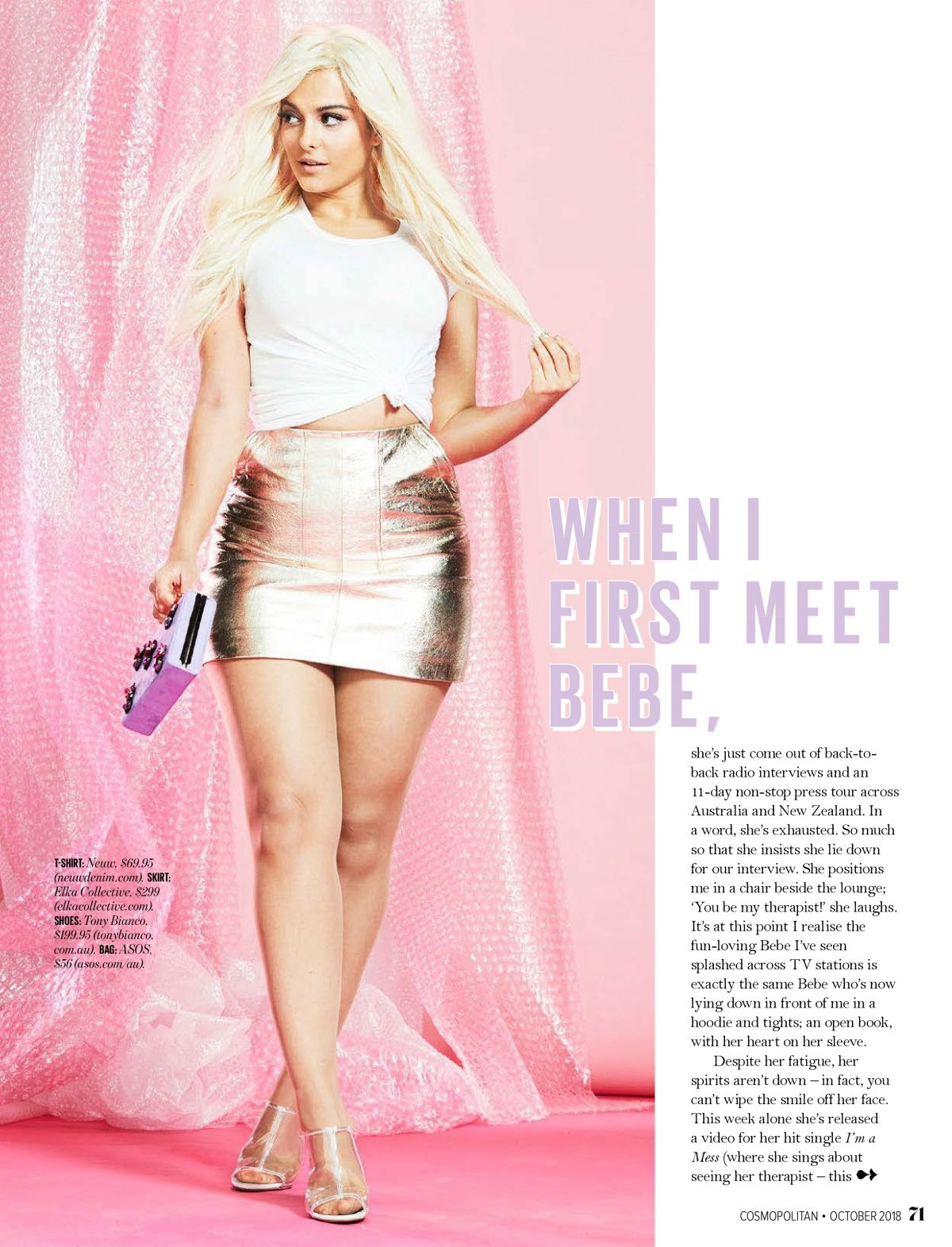 BEBE REXHA in Cosmopolitan Magazine, Australia October 2018