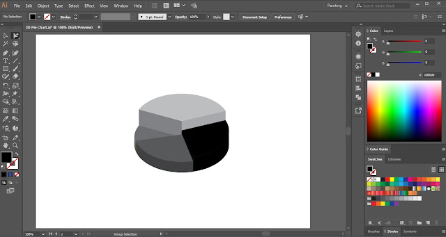 3D Pie Chart in Adobe Illustrator