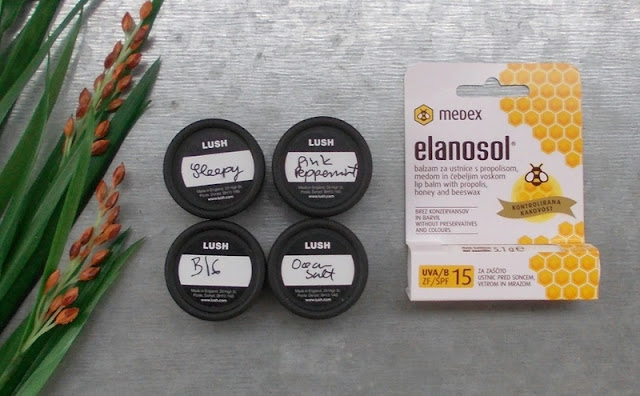 Lush Ocean salt Pink peppermint Big Sleepy Medex Elanosol lip balm
