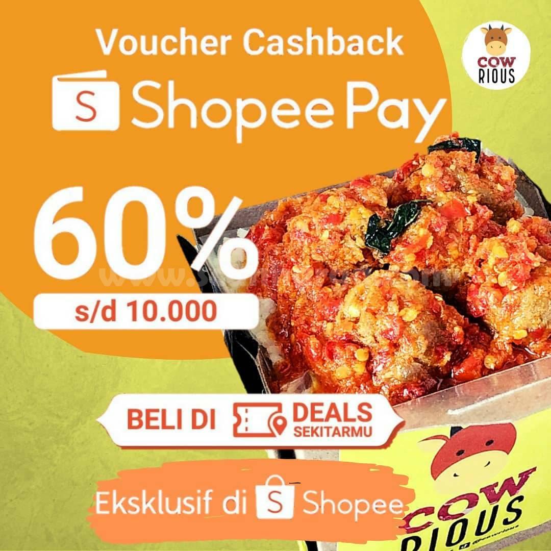Cowrious Promo ShopeePay VOUCHER DEALS Cashback 60% hanya Rp. 1.000
