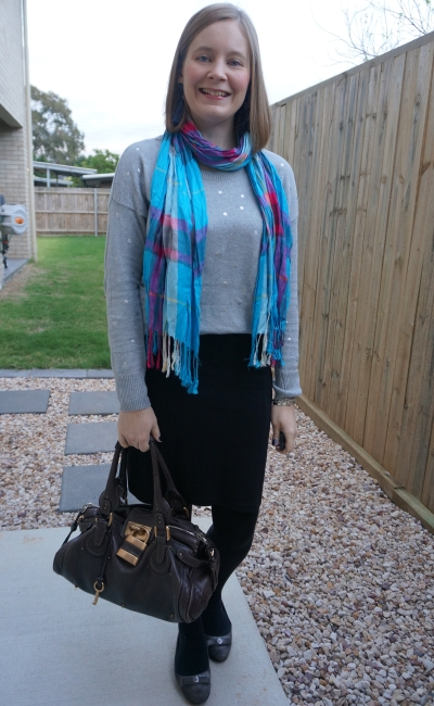 polka dot grey knit with tartan scarf pencil skirt chloe paddington bag | awayfromblue