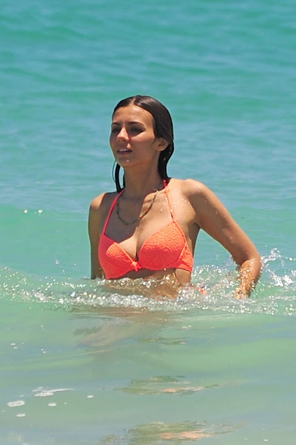 Victoria Justice in Orange Bikini in Florida