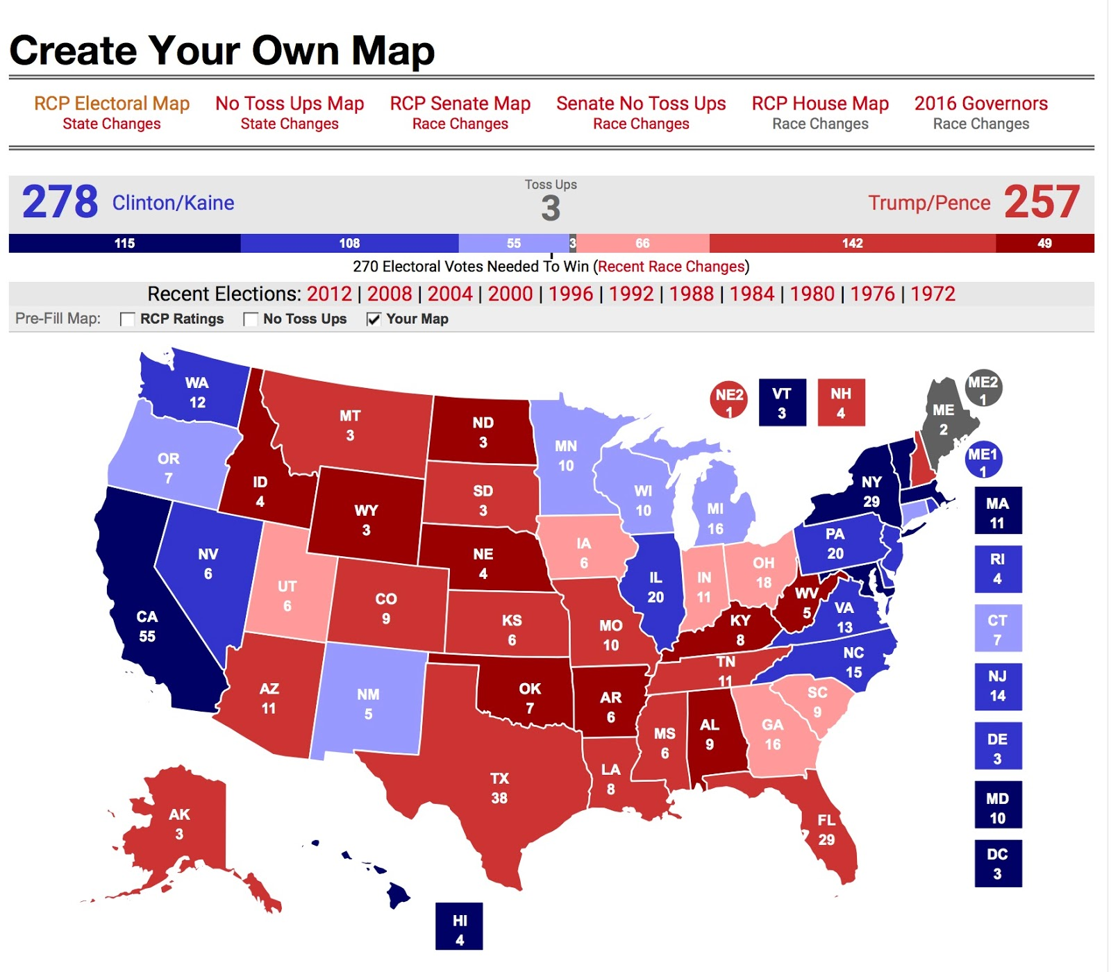 michael s map trump get utah but maine still up for grabs