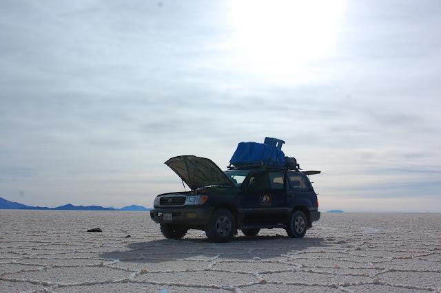 car on salt