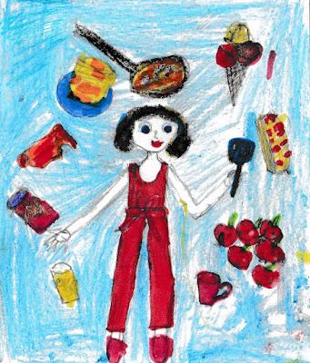 детский рисунок мама - фея