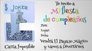 Invitación a cumpleaños Carta imposible. explicación