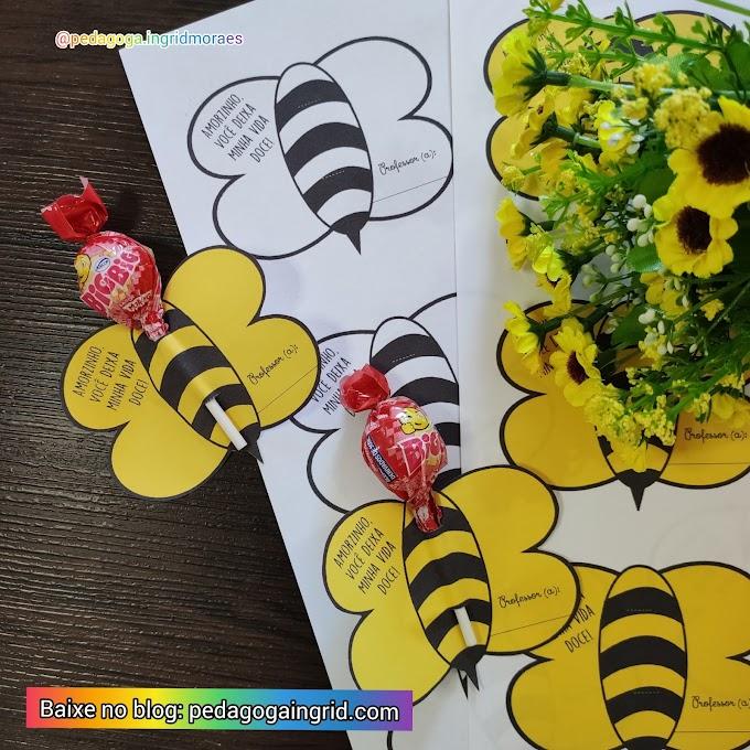 Lembrancinha escolar: Porta Pirulito abelhinha vida doce