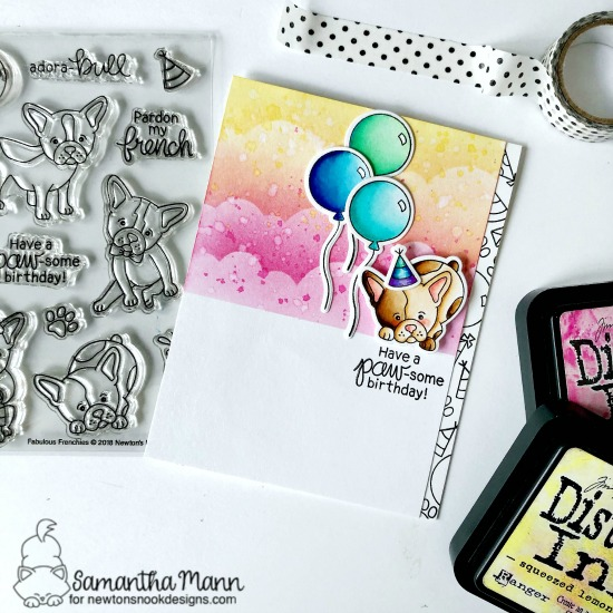 Paw-some Birthday Wishes Card by Samantha Mann | Fabulous Frenchies Stamp Set and Clouds Stencil by Newton's Nook Designs #newtonsnook #handmade