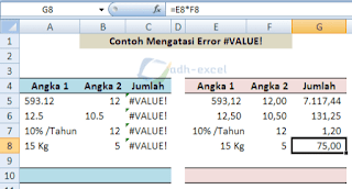 error #VALUE! solution in excel