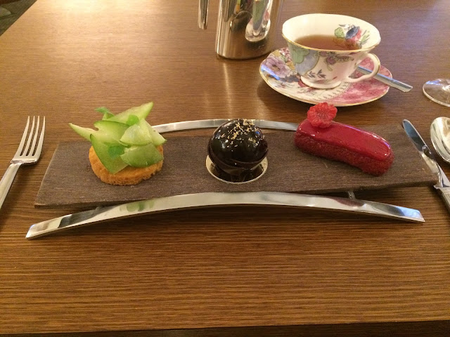 Pastries on a chocolate tray at the Prince de Galles, Paris
