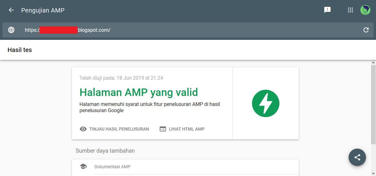 Validasi AMP dari Google AMP Test