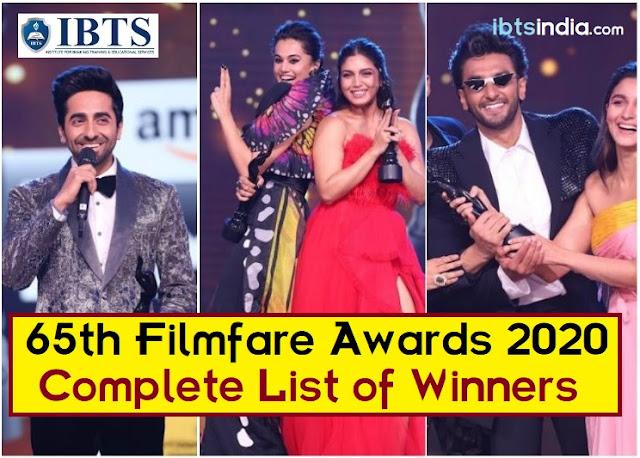 Complete List of Filmfare Awards 2020 Winners