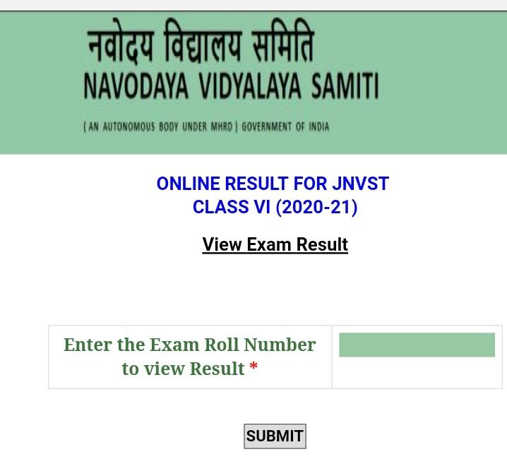 Jnv exam 2020 result std 6