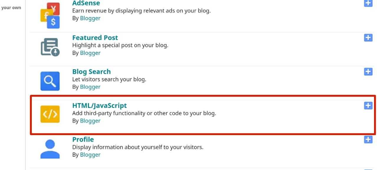 Select Add HTML/JavaScript