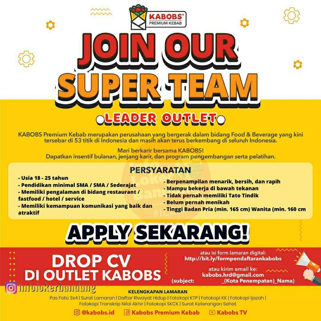 Lowongan Kerja Kerja Leader Online & Driver Kabobs Bandung April 2021