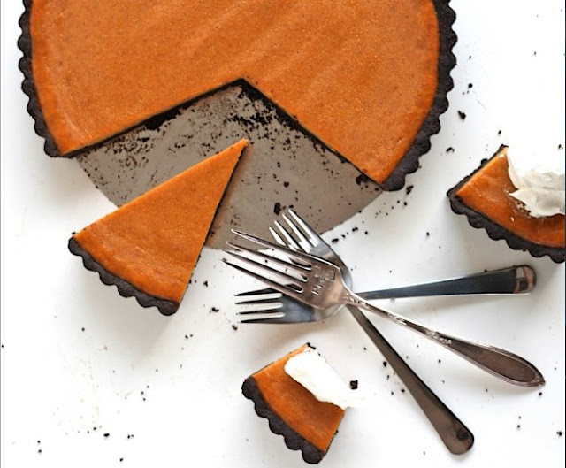 Dark Chocolate Pumpkin Tart #chocolate #desserts