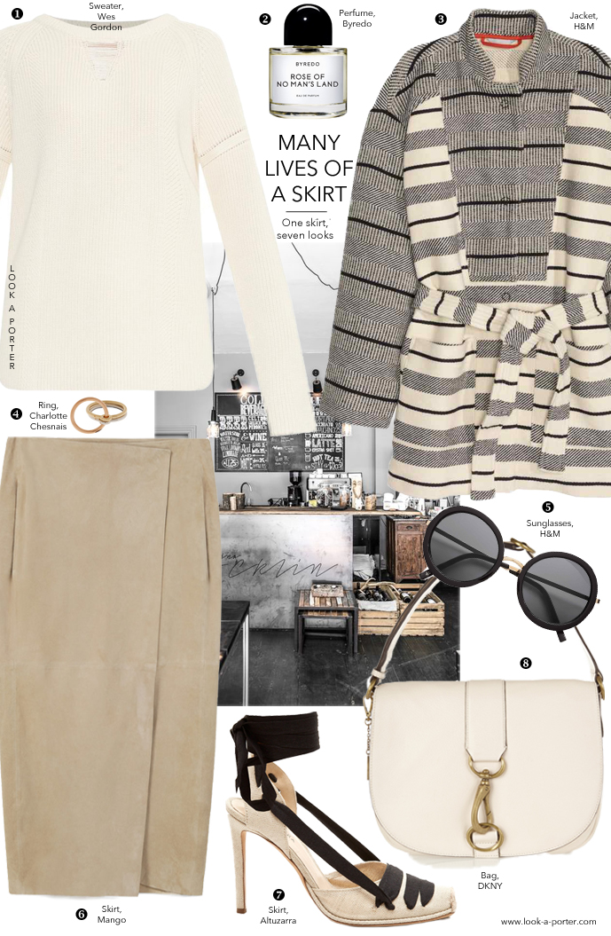 Many ways to style a suede midi skirt for spring via www.look-a-porter.com style & fashion blog / outfit inspiration daily