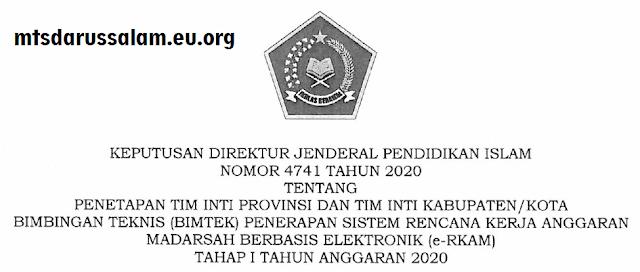 SK Dirjen No. 4741 Tahun 2020 Tentang Penetapan Tim Inti Provinsi Dan Kabupaten Penerapan e-RKAM 2020