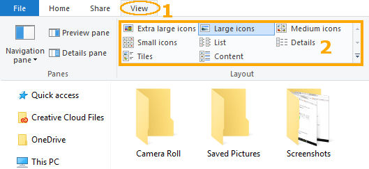 Mengganti tampilan ukuran ikon dan file di Windows Explorer
