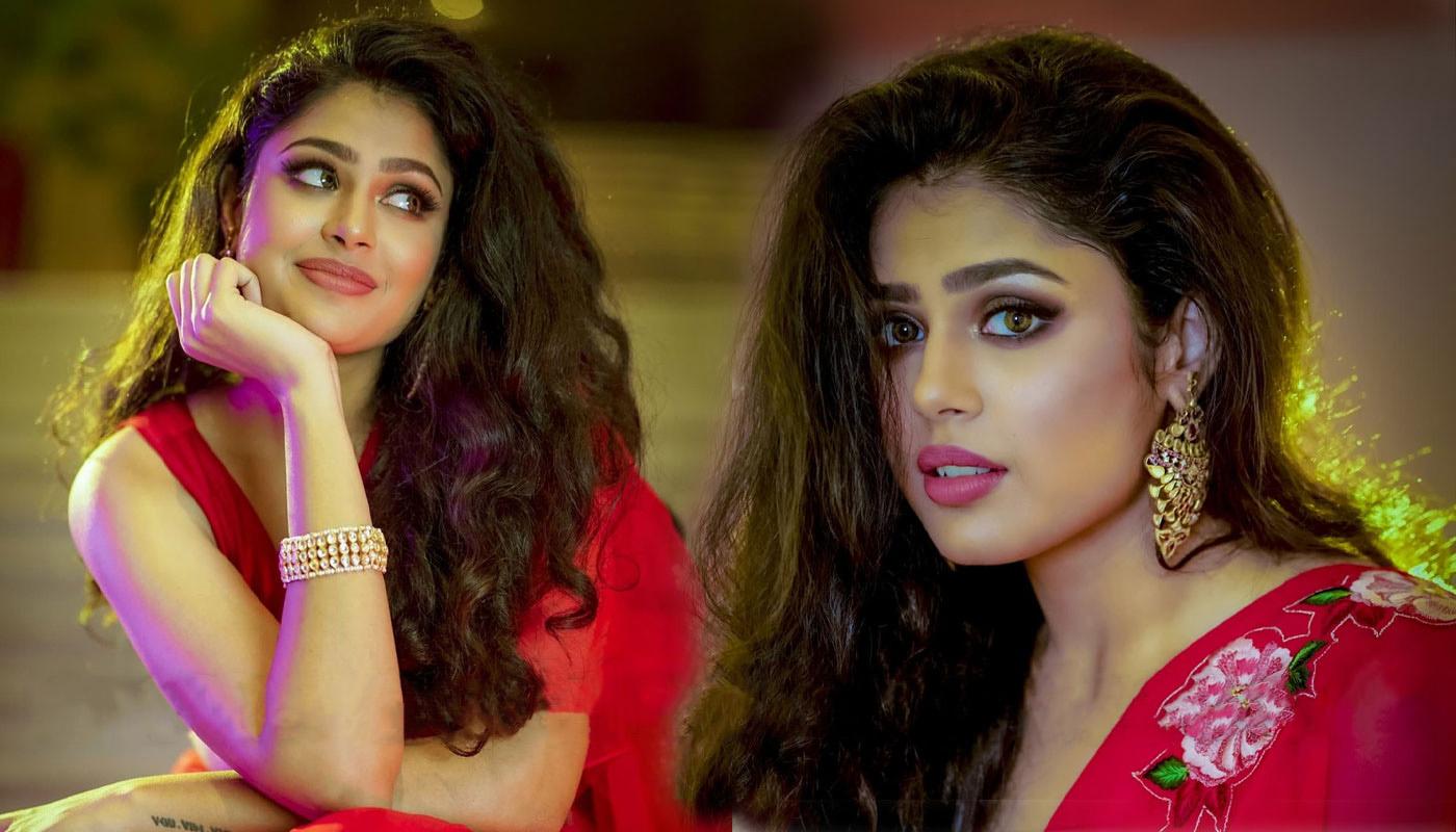 Faria Abdullah Pics In Red Ruffle Saree Photos