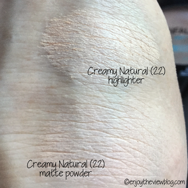 swatches of L'Oreal Pro-Glow Powder shade 22