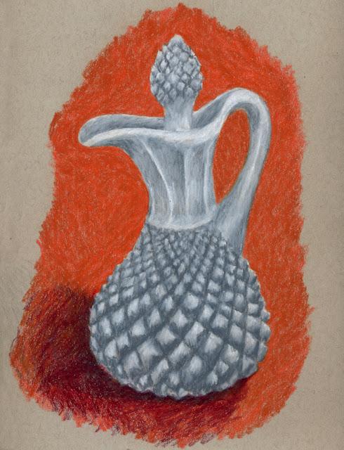 Colored pencil drawing of milk glass cruet