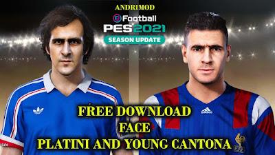 PES 2021 Faces Michel Platini & Eric Cantona by Andri Mod