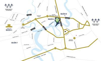 Dự án mới nằm ven sông quận 9 có vị trí dễ dàng kết nối đường bộ, thủy, hàng không.