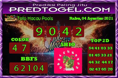 Pred Macau Rabu 04 Agustus 2021