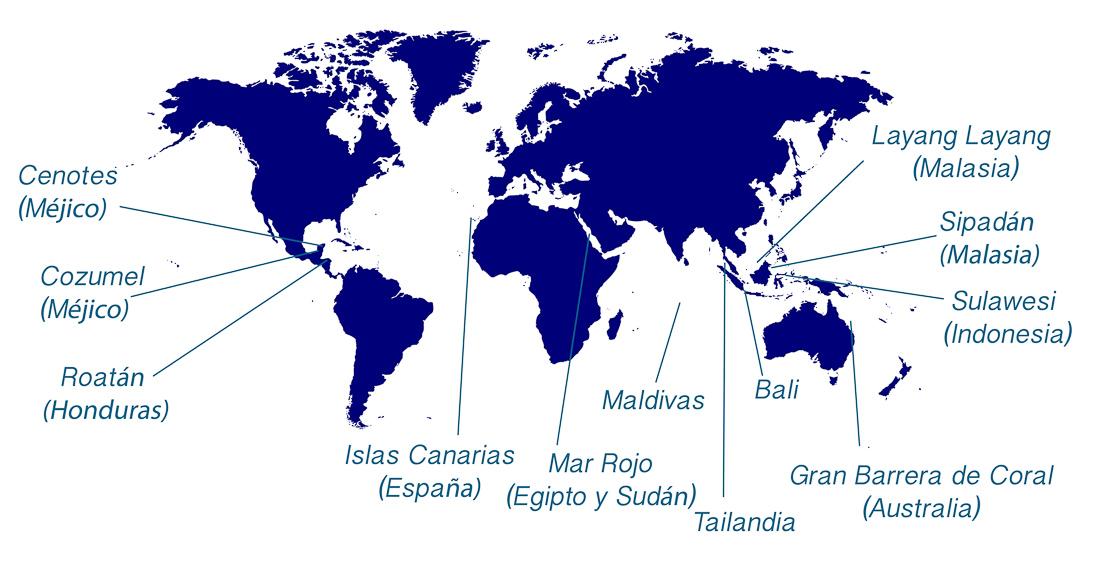 Mapa destinos buceo