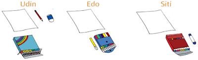 Udin, Edo, dan Siti, menggambar dengan alat yang berbeda www.simplenews.me