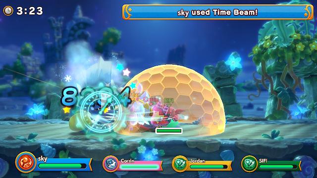 Super Kirby Clash Sword Hero big shield protecting team