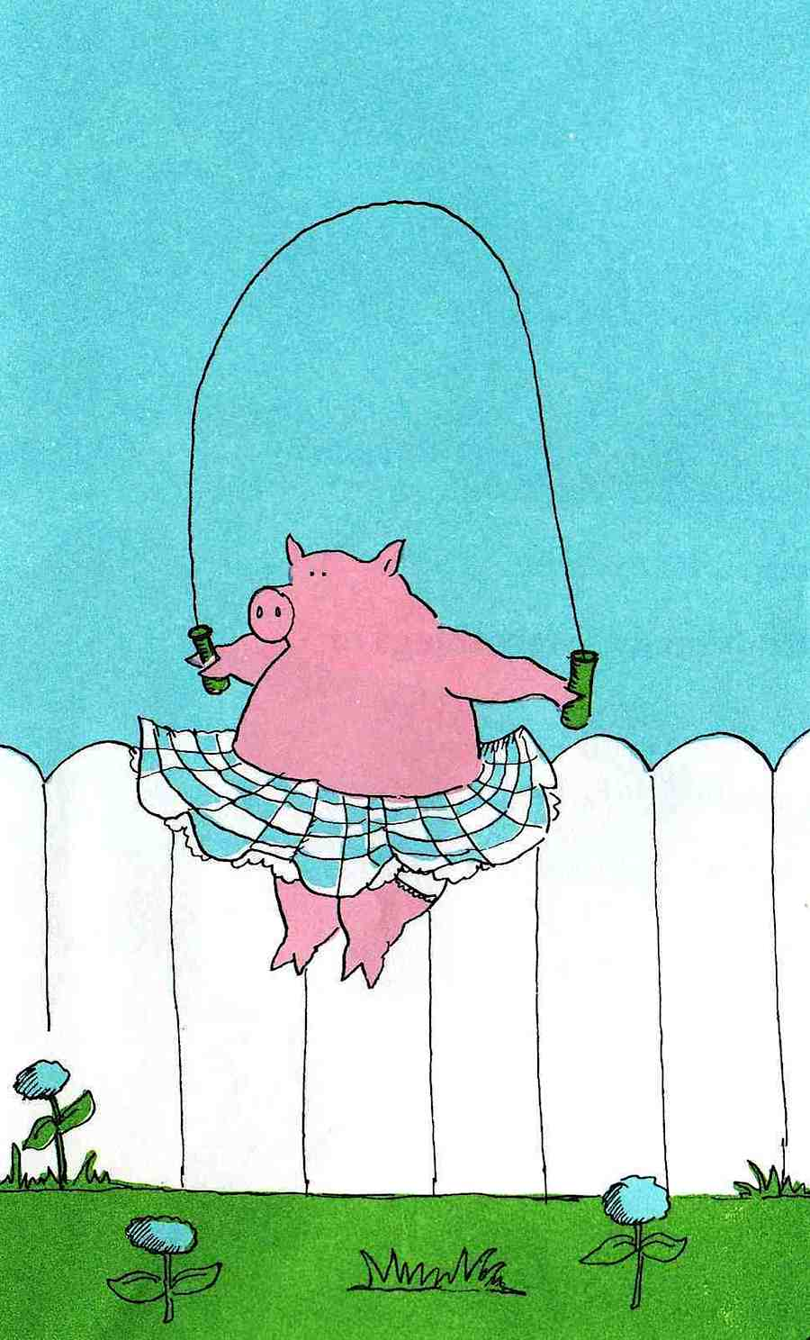 a James Marshall 1973 children's book illustration, a girl pig skipping rope