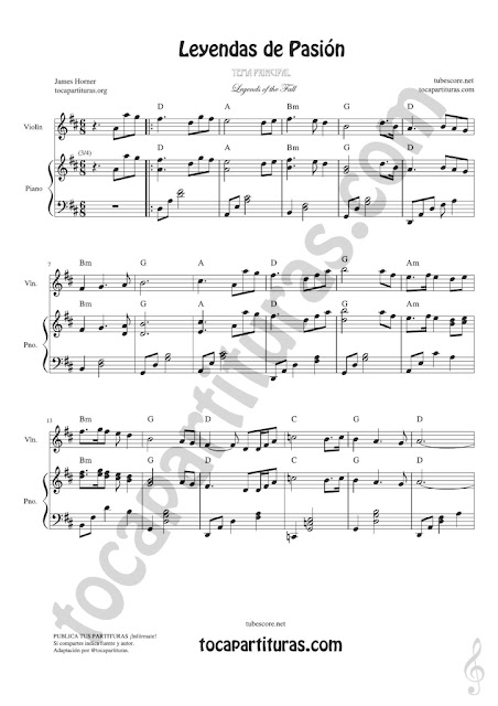 1 Leyendas de Pasión Partitura de Violín Legends of the Fall Sheet Music for Violinists (Tuba lectura en 8ª baja)