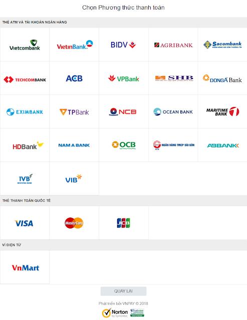 Khách hàng sẽ được chuyển hướng đến trang thanh toán của VNPAY