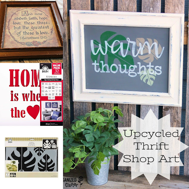 Thrift Shop Faded Wall Art Up-cycle with Paint & Stencils #upcycle #stencil #thriftshopmakeover #tropicalleaves