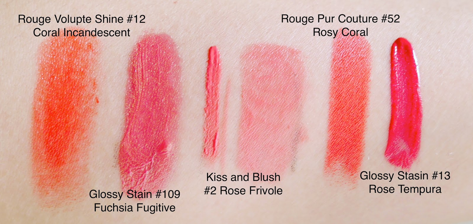 ysl glossy stin 13 109 rouge volumpte shine 12 kiss and blush 2 rouge pur couture 52 swatch