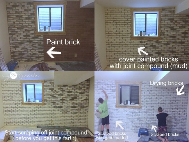 how to make faux brick look real, with a white washed effect