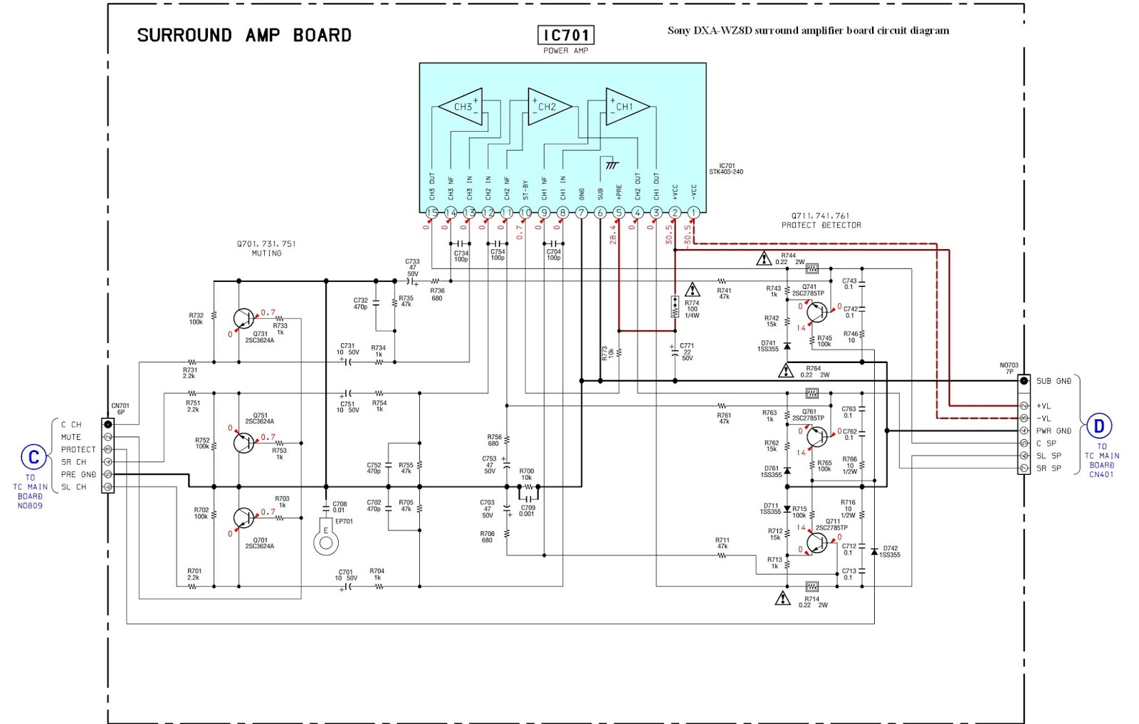 sony dxa wz8d surround amplifier board circuit diagram [ 1600 x 1017 Pixel ]