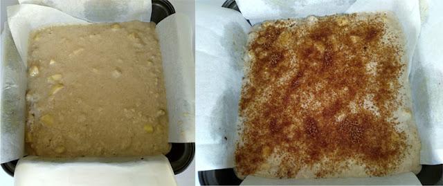 Bizcocho vegano de manzana con cobertura de natillas veganas la cocinera novata receta cocina reposteria dulce vegano leche vegetal merienda desayuno