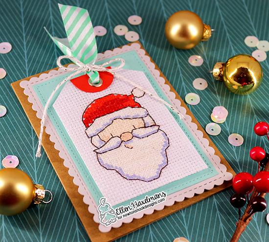 Santa card with Frame Dies by Ellen Haxelmans | Framework Die Set and Fancy Edges Tag Die Set by Newton's Nook Designs #newtonsnook #handmade