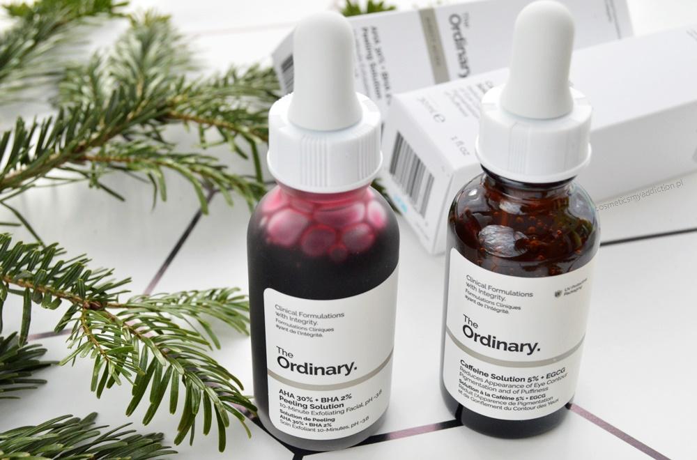 The Ordinary - serum pod oczy z kofeiną oraz peeling kwasowy AHA30% + BHA 2%